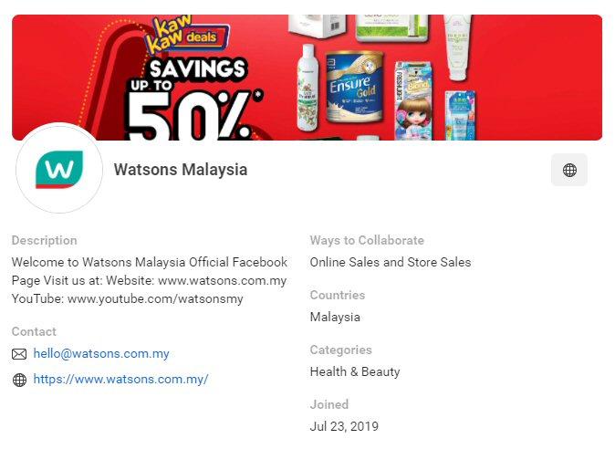 CPAS retail partner: Watsons