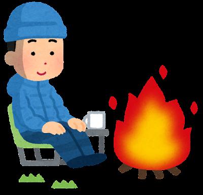 焚き火をしている人のイラスト(冬・男性)