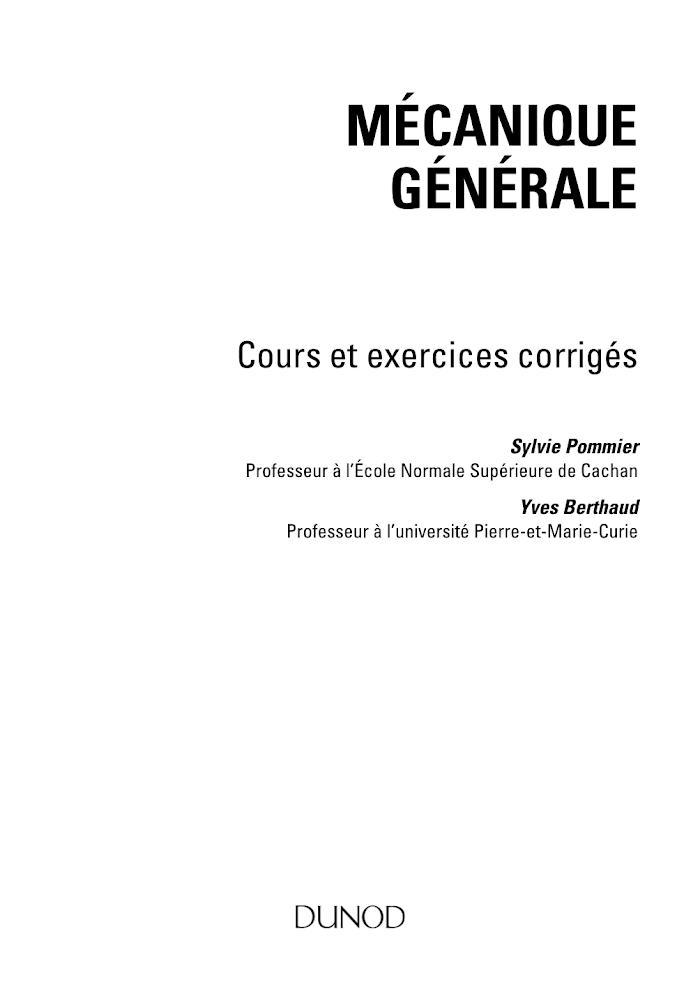Mécanique Générale  Cours et exercices corrigés PDF
