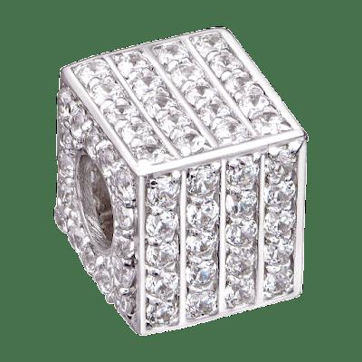 Hạt Charm Me Vàng trắng Ý 18K đính đá CZ PNJ hình lập phương XM00W000028