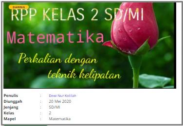 Download RPP Daring SD Kelas 2 Matematika
