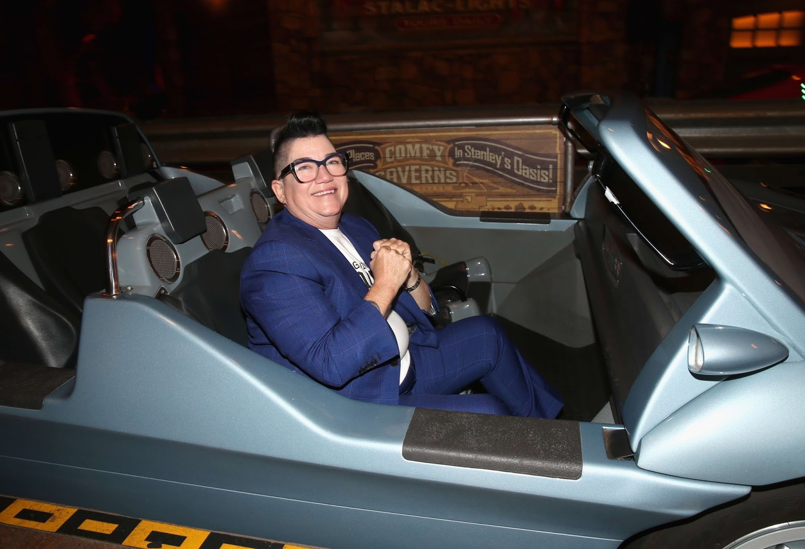 Voice of miss fritter actor lea delaria is ready to ride radiator springs racers during the cars 3 world premiere after party