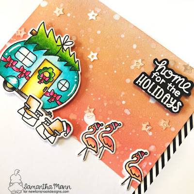 Home for the Holidays Card by Samantha Mann for Newton's Nook Designs, Distress Oxide Inks, Christmas, Cards, Christmas, Camper, RV #newtonsnook #christmas #cards #camper #rv #distressoxide