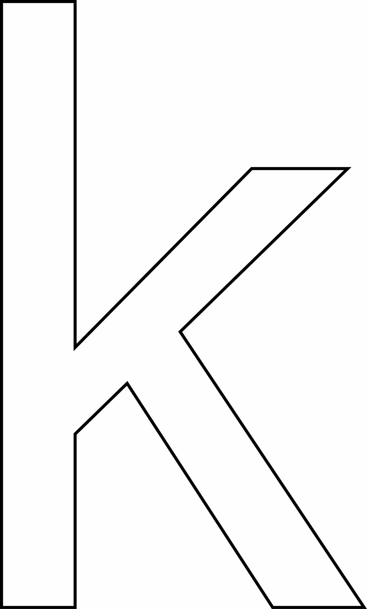 Letra K - minúscula para imprimir
