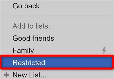how to restrict someone on facebook mobile