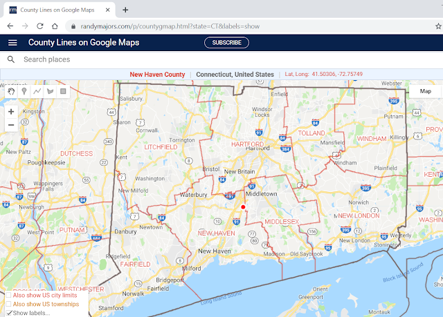 Google Maps with County Boundaries example from Connecticut including county name labels