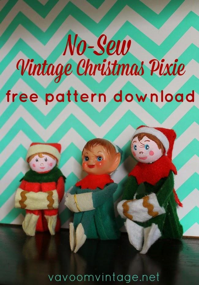 No Sew Vintage Christmas Pixie Free Pattern Download - Va-Voom ...