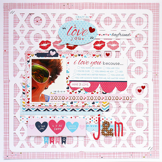 I Love You Scrapbook Page by Monique Liedtke using the Hugs & Kisses Valentine's Day Free Digital Cut File by Juliana Michaels 17turtles