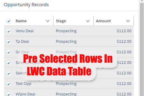 Populate  Preselected Checkbox for Records/Rows On LWC Lightning Data Table