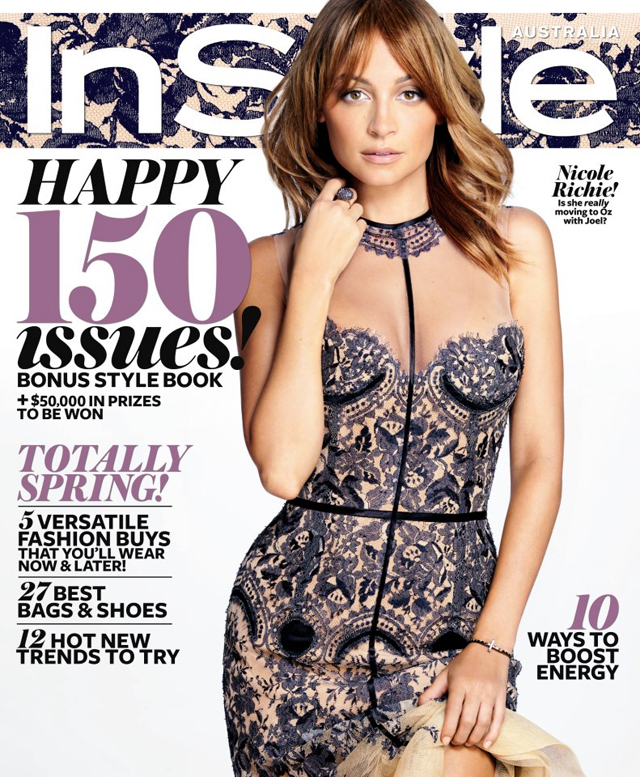 Nicole Richie covers Instyle Australia wearing J'Aton Couture