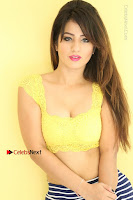Cute Telugu Actress Shunaya Solanki High Definition Spicy Pos in Yellow Top and Skirt  0165.JPG