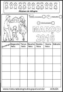 Calendário março 2016 colorir