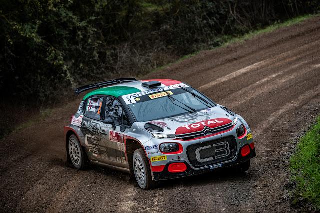 Andrea Crugnola in his Citroen C3 R5 Rally Racing car