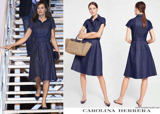 Queen Letizia wore Carolina Herrera denim shirt dress