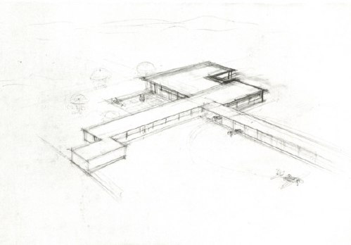 Ludwig Mies van der Rohe: drawing for golf club house, Krefeld, Germany