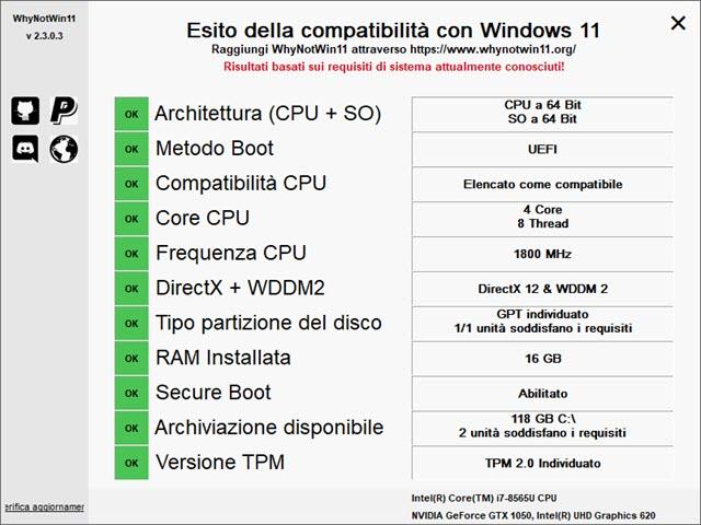 esito compatibilità con Windows 11