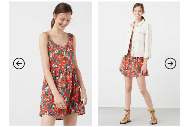 rochie mango de vara rosie cu flori