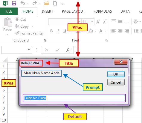 Cara Membuat Input Box di VBA Excel