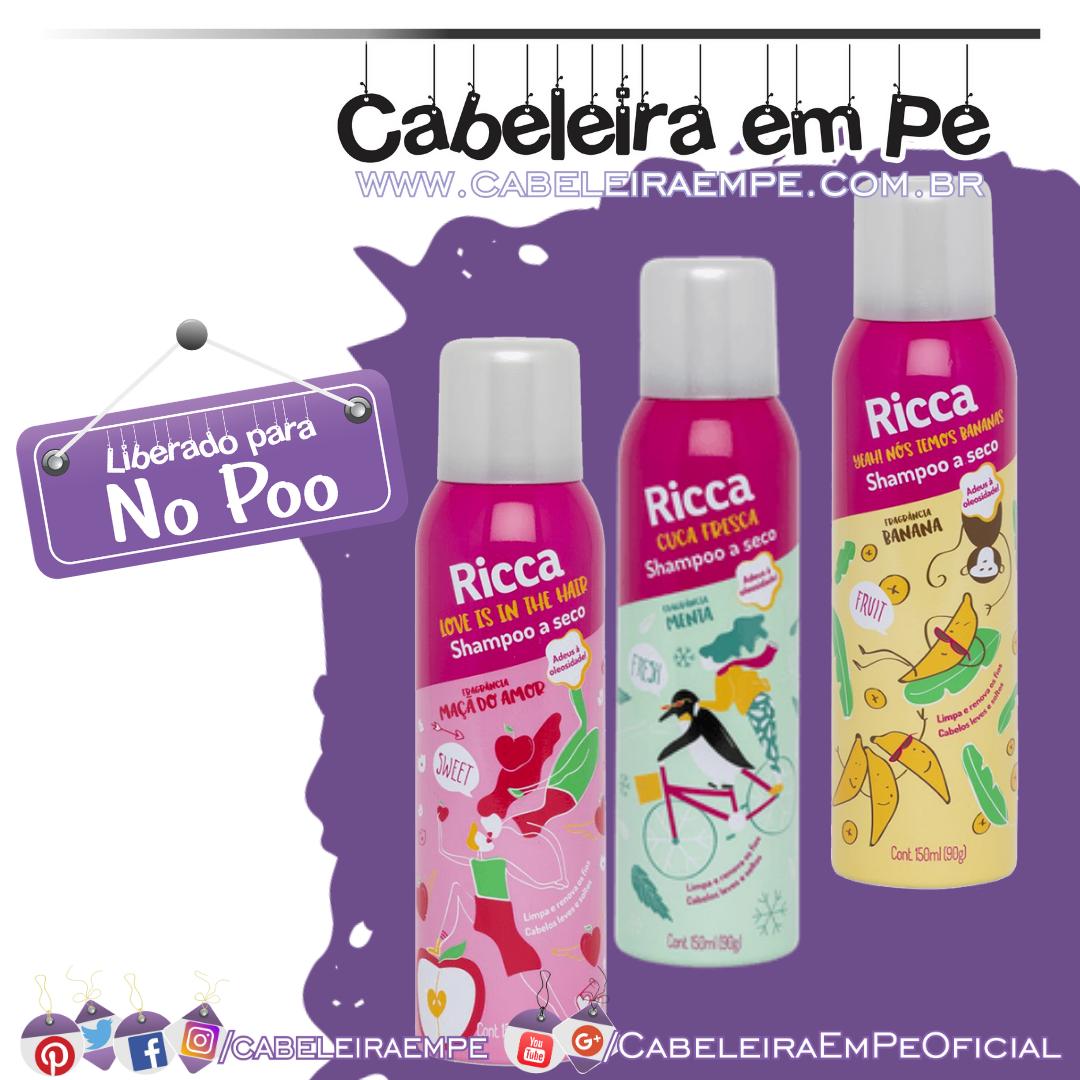 Shampoos a Seco (Banana, Maçã do Amor e Fresh) - Ricca (No Poo)