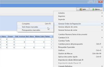 Selección de presupuestos o líneas para la creación de una orden de reparación en el software de talleres