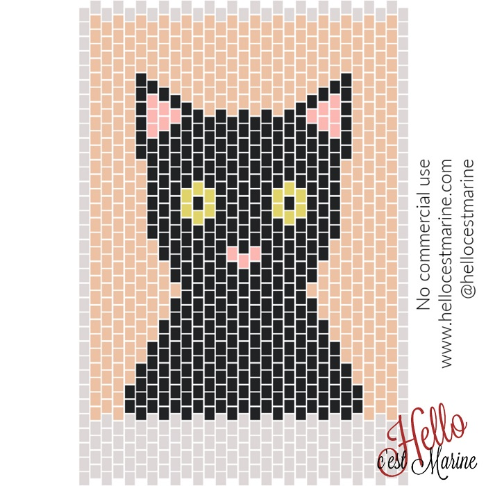 Un chat au visage fin à tisser en perles Miyuki Delicas 11/0 par Hello c'est Marine
