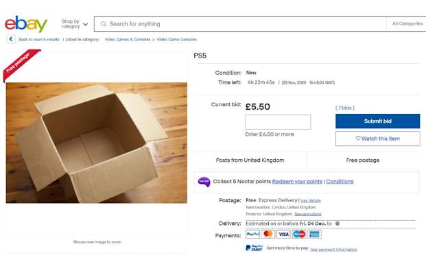PS5: يبحث موقع eBay عن المحتالين الذين يعيدون بيع صور وحدة التحكم