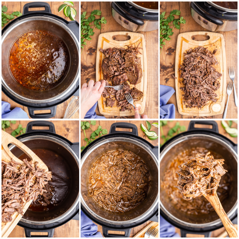 Six more photos of the process of making Instant Pot Mexican Shredded Beef.