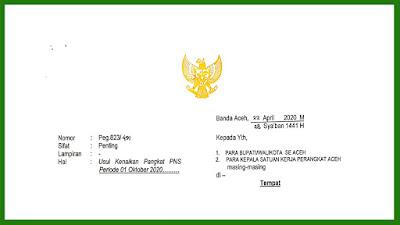 Surat Gubernur Aceh Tentang Usul Kenaikan Pangkat PNS Periode 01 Oktober 2020
