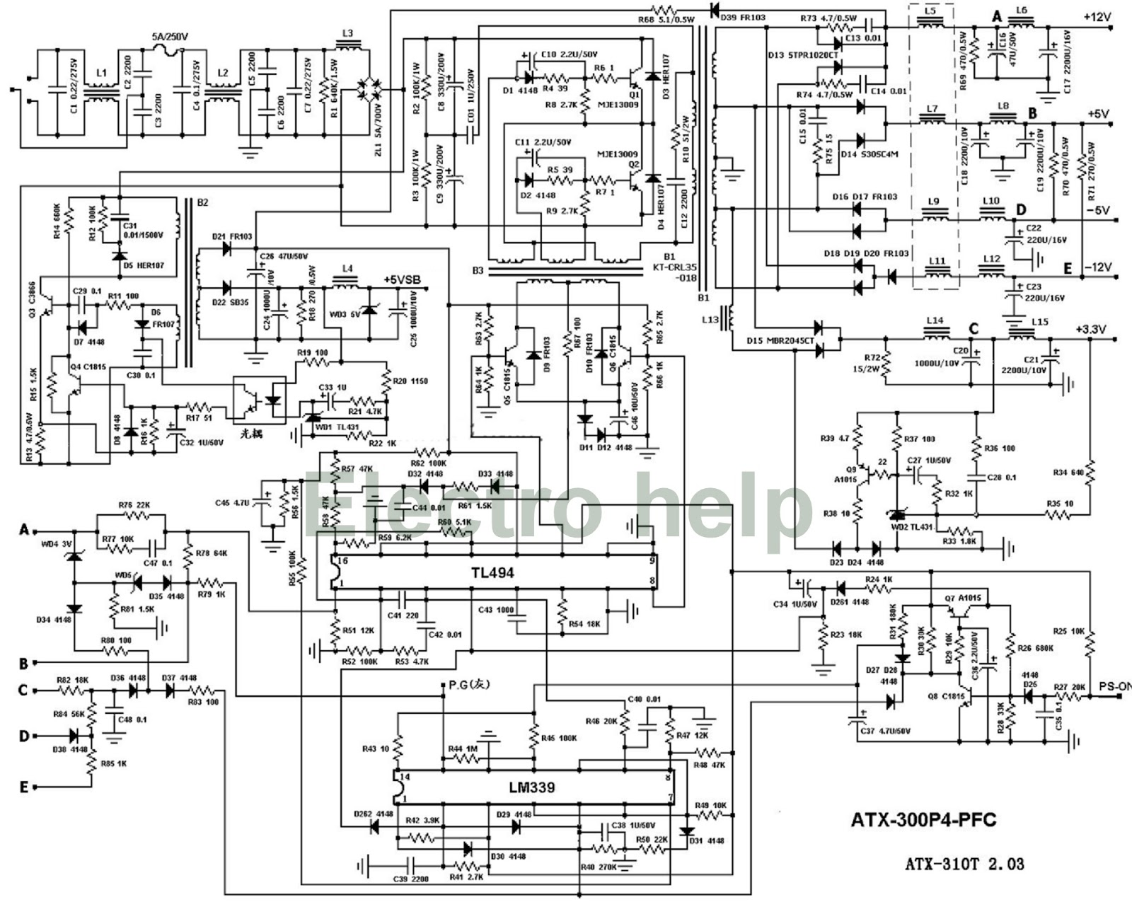 ATX power supply - Desktop computers - ATX300P4 - schematic MJE13009 ...