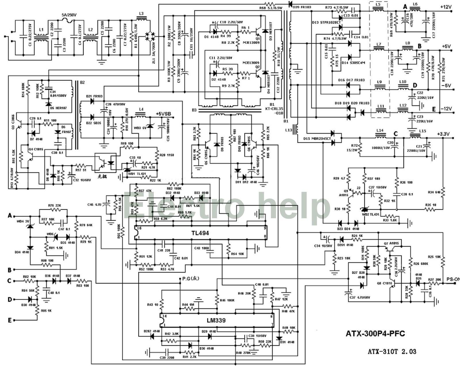atx power supply wiring schematic