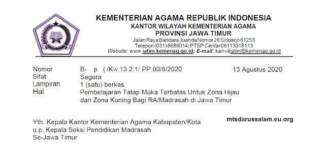 Pembelajaran Tatap Muka Terbatas Untuk Zona Hijau dan Zona Kuning Bagi RA/Madrasah di Jawa Timur