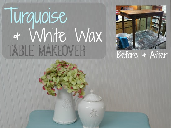 Turquoise and White Wax Knechtel End Table Makeover