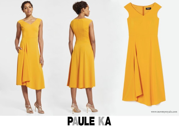 Princess Stephanie wore Paule Ka Sleeveless midi dress