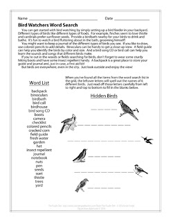 Bird Watchers Word Search