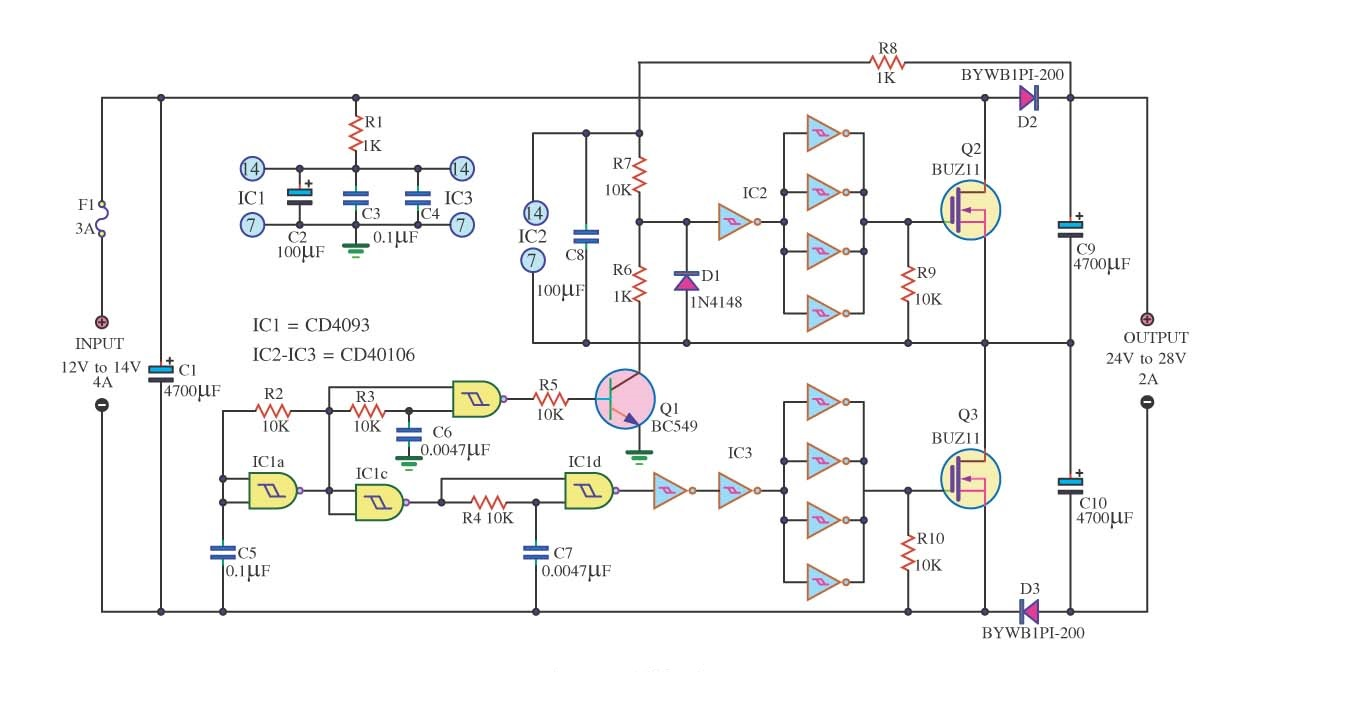 Basic Dc Wiring Diagram Simple Audio Level Meter Circuit Electronic Circuits And Converter 12v To 24v 2a House