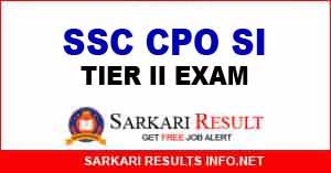 SSC CPO SI Tier II Exam