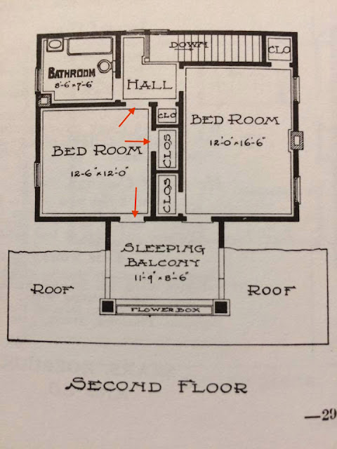 Sears Elmwood door from bedroom to sleeping balcony on floor plan