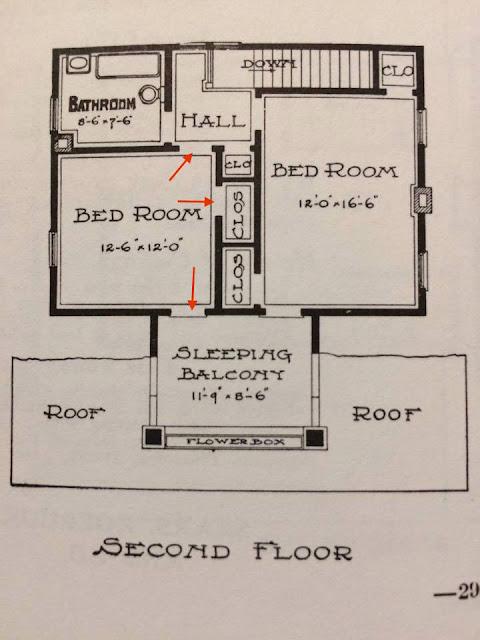 Sears Elmwood door from bedroom to sleeping balcony on floor plan