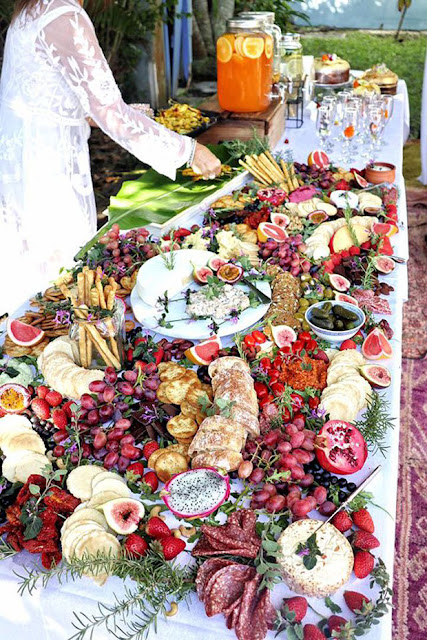 Colourful grazing table