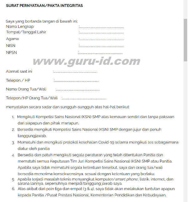 gambar Surat Pakta Integritas dan Izin Orangtua KSN SMP 2020