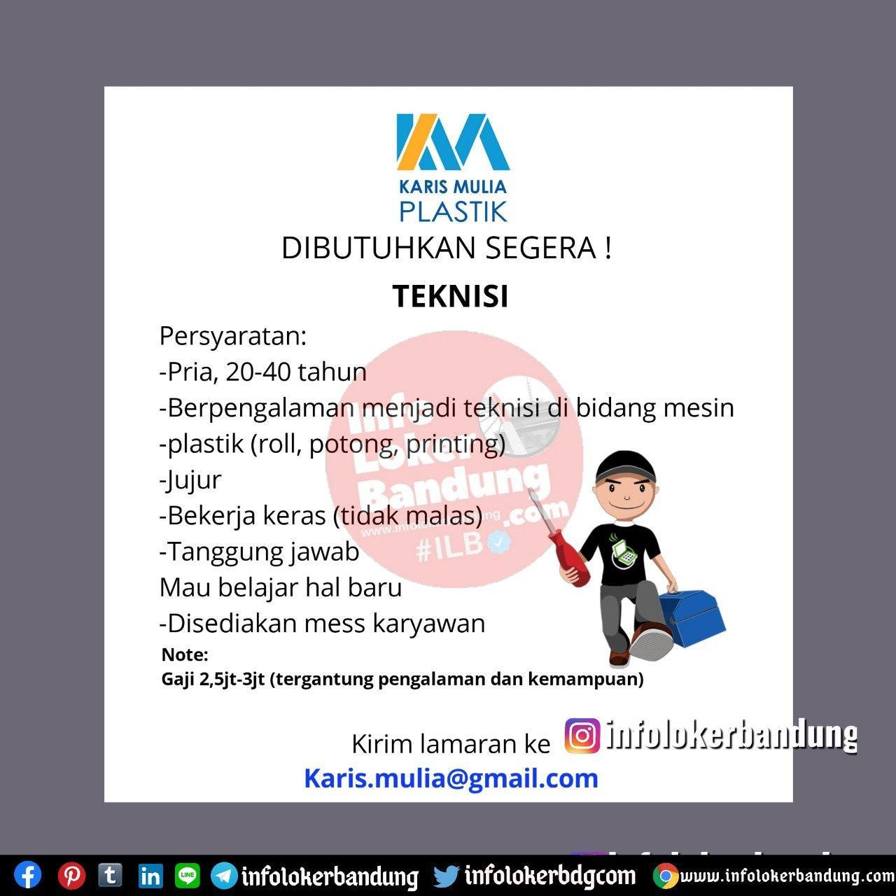 Lowongan Kerja Teknisi Karis Mulia Plastik Bandung Juli 2020