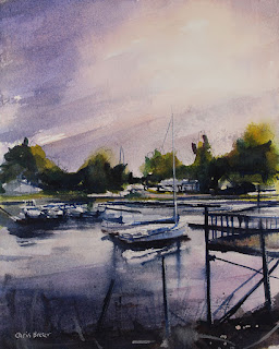watercolor painting of boats at Wilson marina ny
