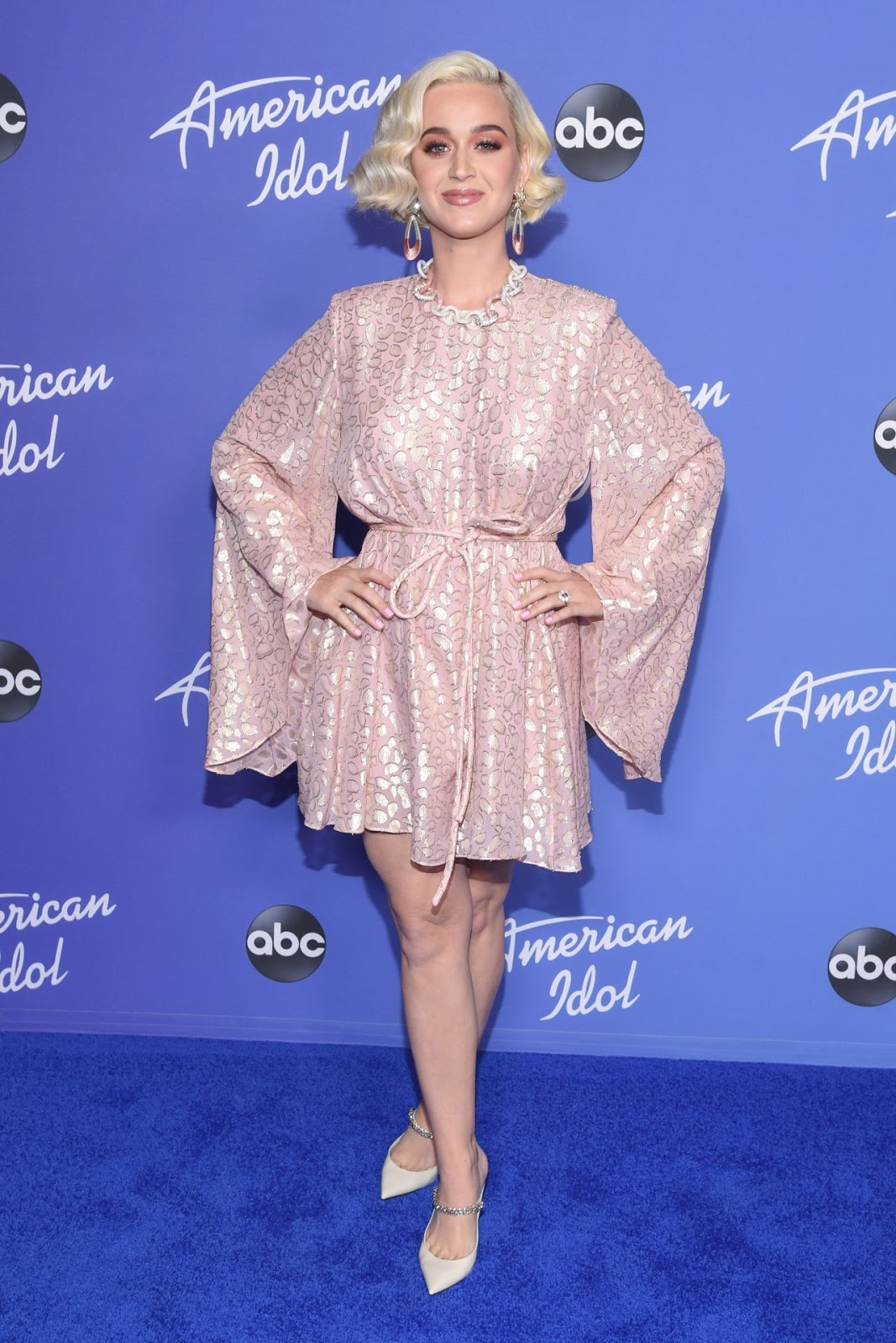 Katy Perry is precious in pastel pink as she rings in the third season of American Idol at the show's premiere party in Hollywood