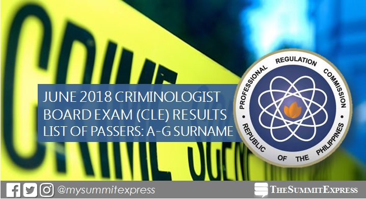 A-G Passers: June 2018 Criminologist board exam CLE results