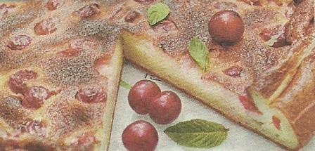 Состав продуктов и способ приготовления пирога с вишней