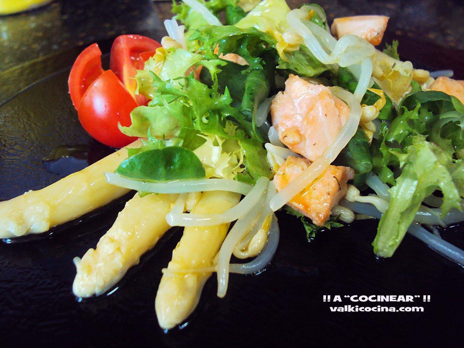 Ensalada templada de salmón fresco y germinados