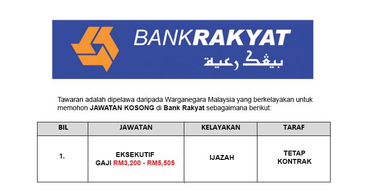 Jawatan Kosong Eksekutif di Bank Kerjasama Rakyat Malaysia Berhad - Gaji RM3,200 - RM5,505