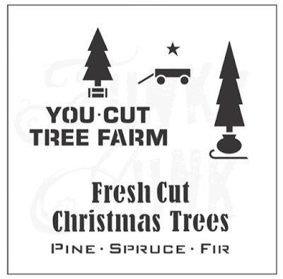 Old sign stencil Christmas trees
