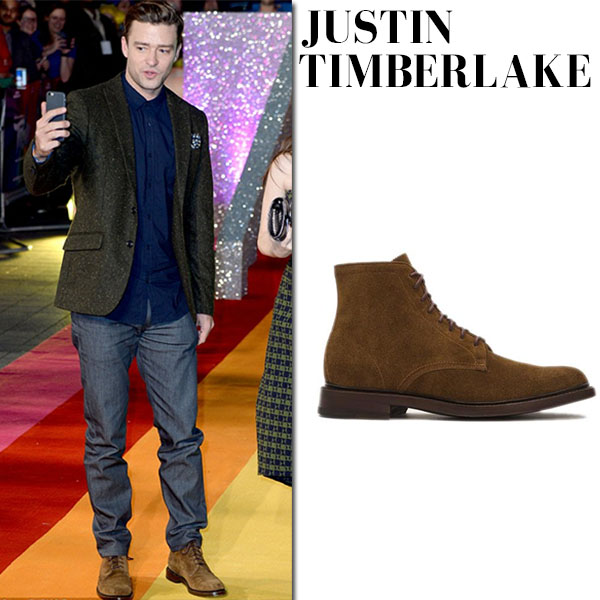 Justin Timberlake in brown suede boots frye company jones lace up mens fashion