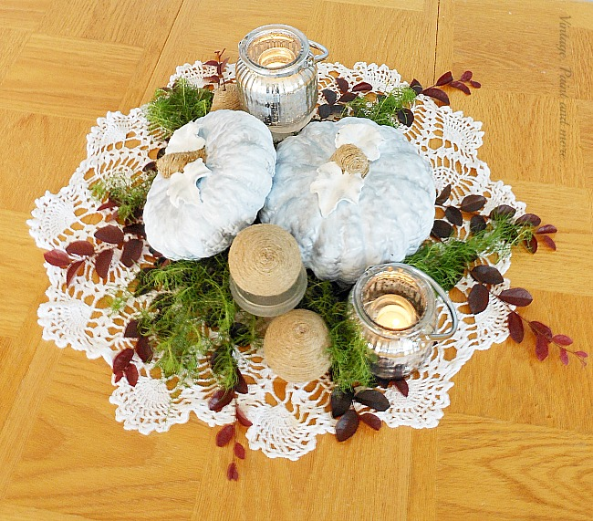 Vintage, Paint and more... a fall centerpiece done with diy painted blue ceramic pumpkins, diy twine wrapped pears and mercury glass candles